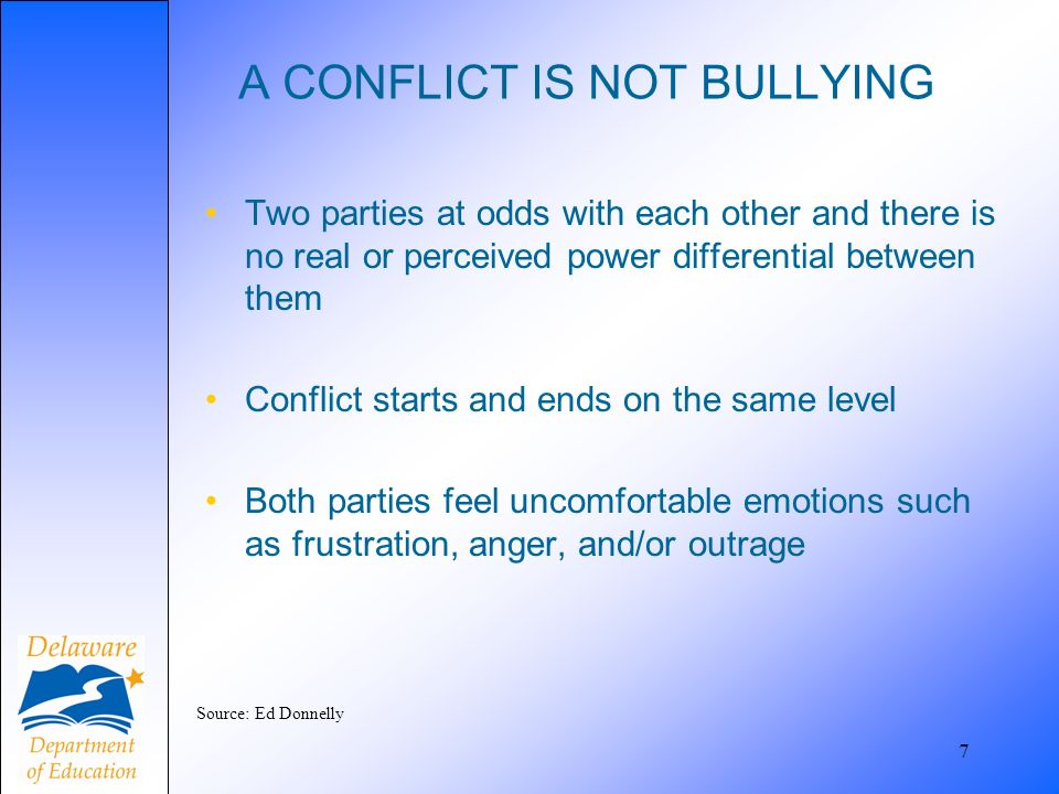 A CONFLICT IS NOT BULLYING