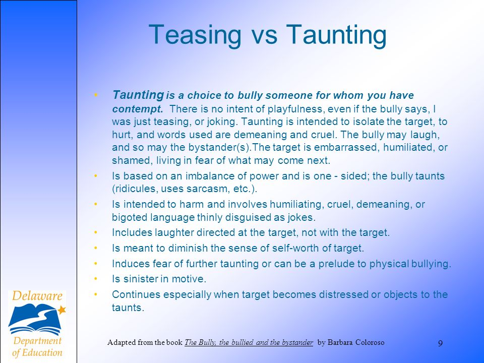 Teasing vs Taunting