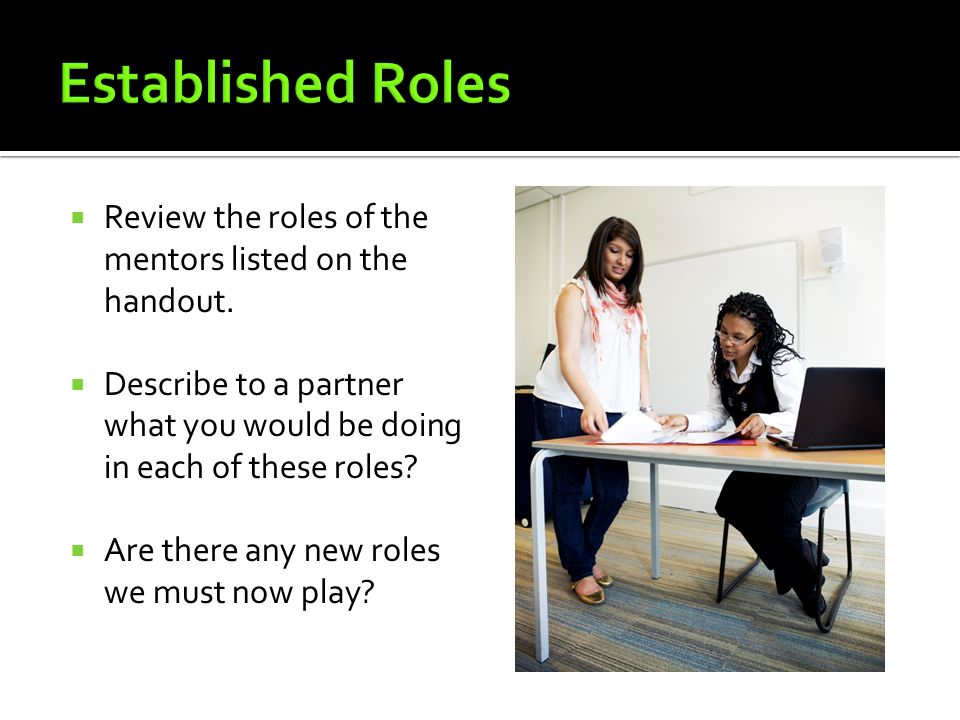 Established Roles Review the roles of the mentors listed on the handout. Describe to a partner what you would be doing in each of these roles