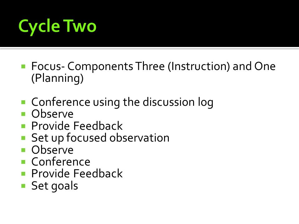 Cycle Two Focus- Components Three (Instruction) and One (Planning)