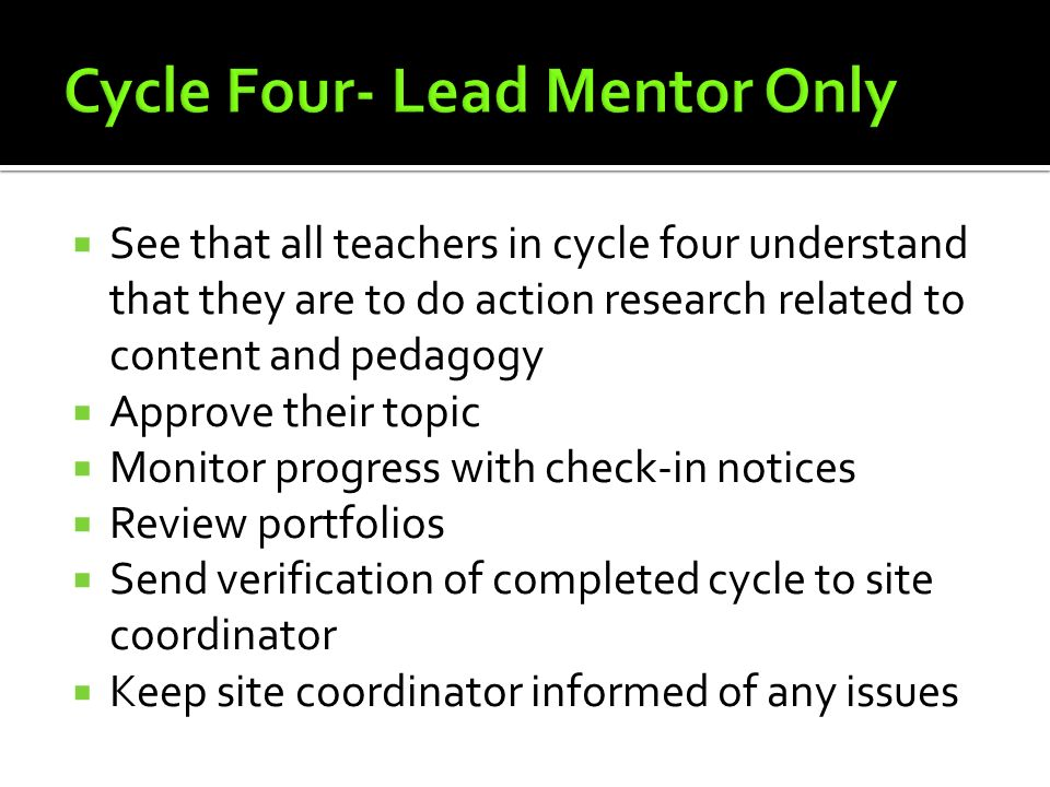 Cycle Four- Lead Mentor Only