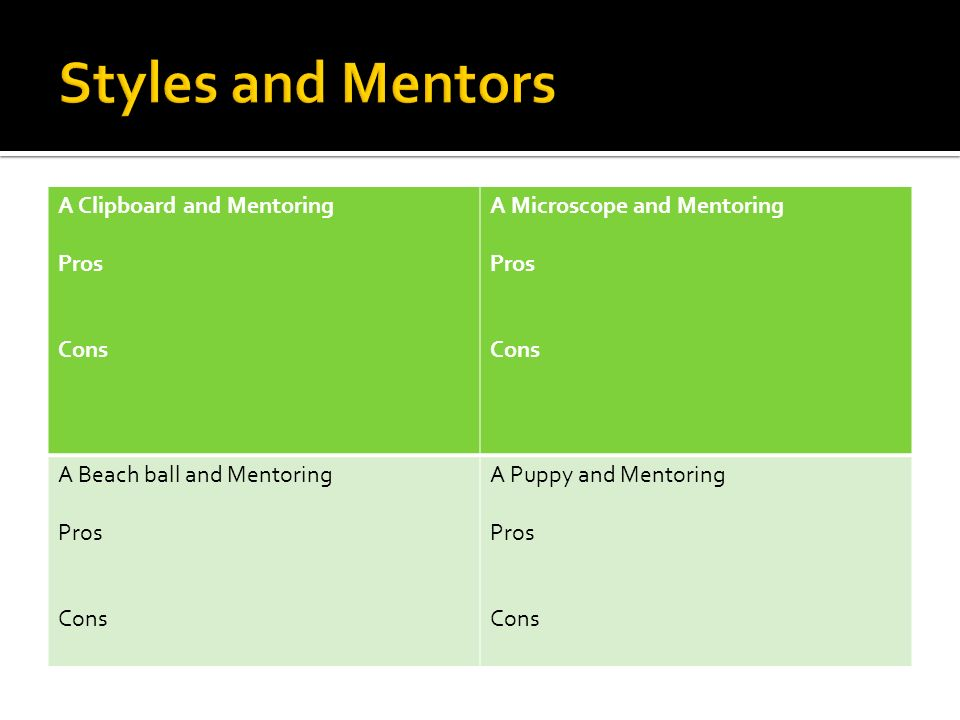 Styles and Mentors A Clipboard and Mentoring Pros Cons