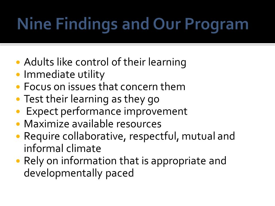 Nine Findings and Our Program