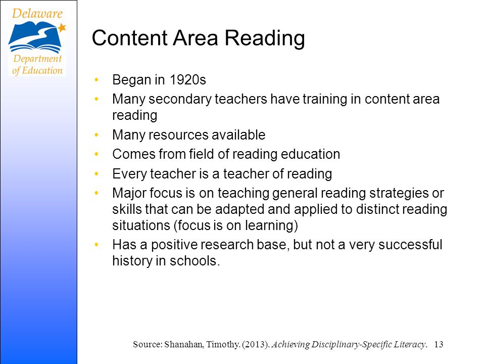 Content Area Reading Began in 1920s