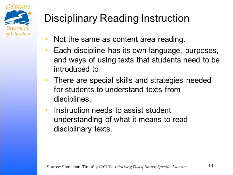Disciplinary Reading Instruction
