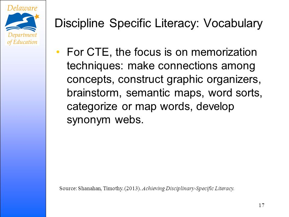 Discipline Specific Literacy: Vocabulary