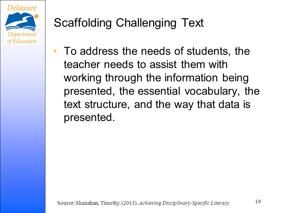 Scaffolding Challenging Text