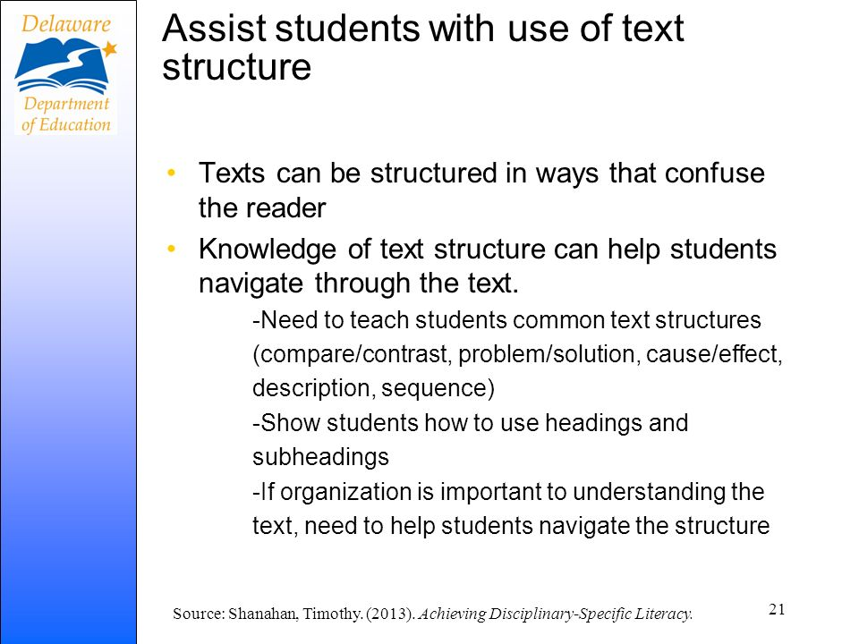 Assist students with use of text structure