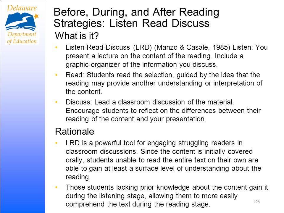 Before, During, and After Reading Strategies: Listen Read Discuss
