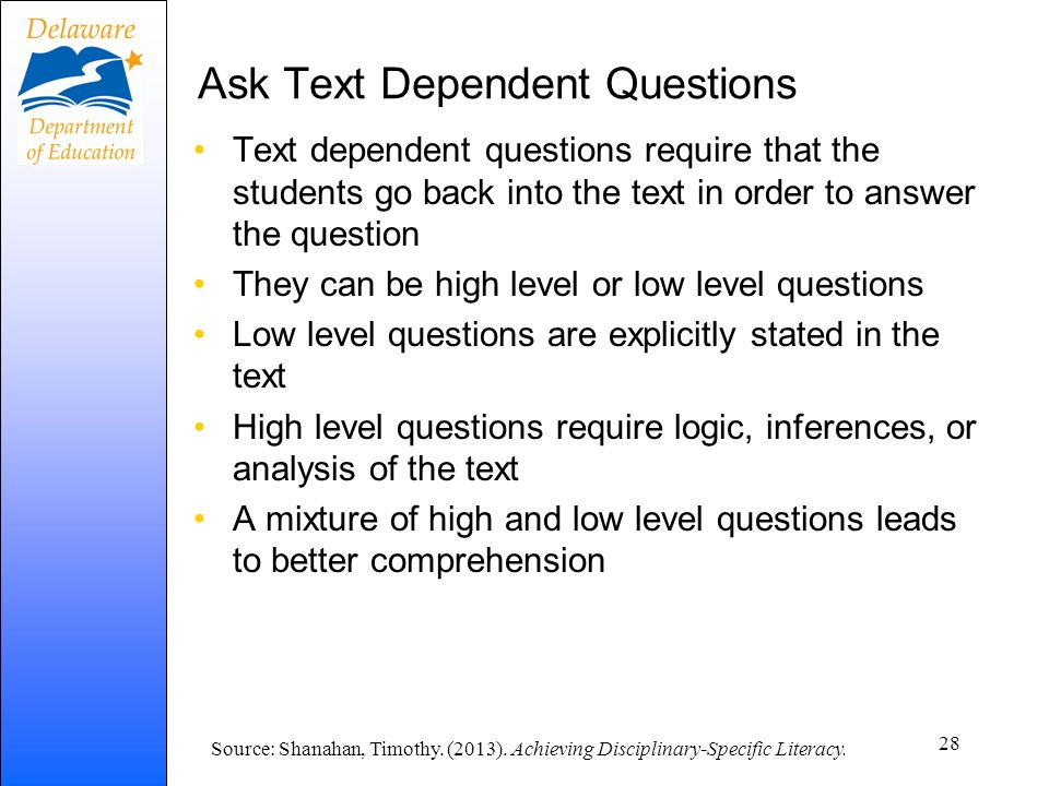 Ask Text Dependent Questions