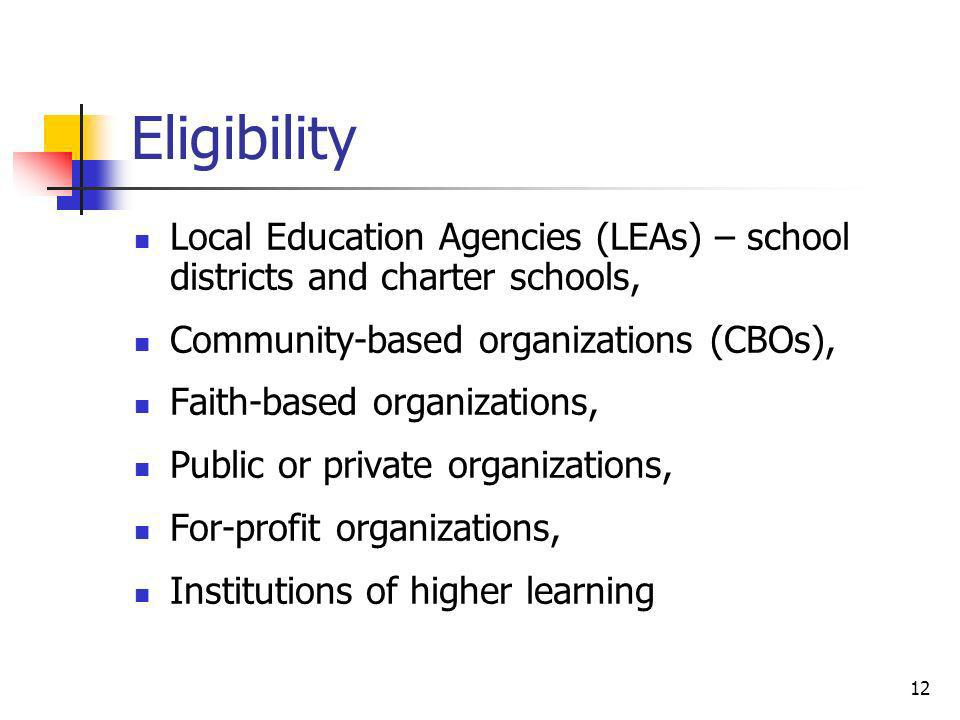 Eligibility Local Education Agencies (LEAs) – school districts and charter schools, Community-based organizations (CBOs),
