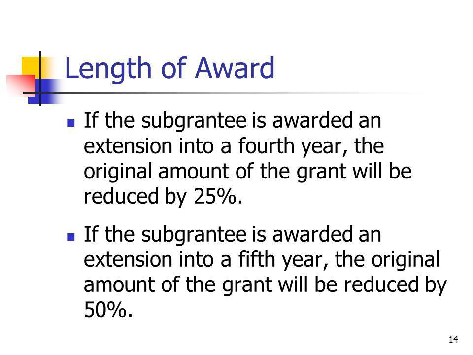 Length of Award If the subgrantee is awarded an extension into a fourth year, the original amount of the grant will be reduced by 25%.