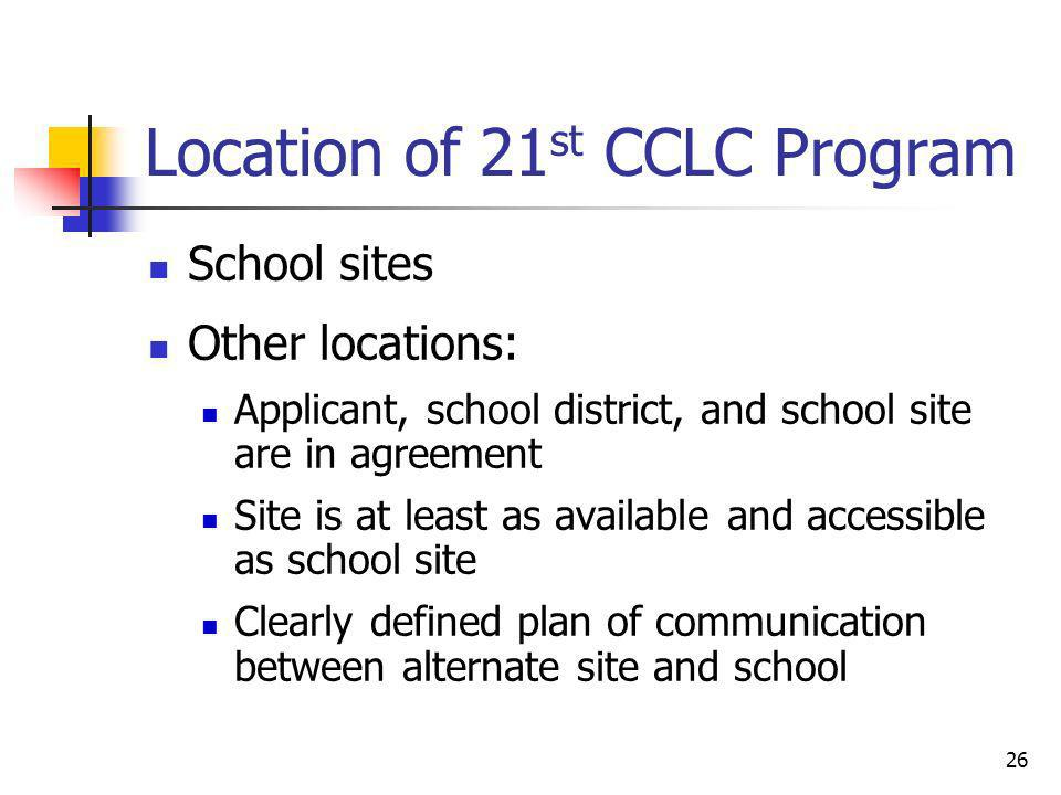 Location of 21st CCLC Program