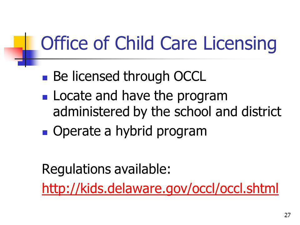 Office of Child Care Licensing