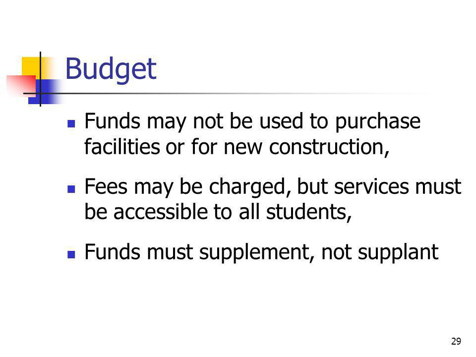 Budget Funds may not be used to purchase facilities or for new construction, Fees may be charged, but services must be accessible to all students,