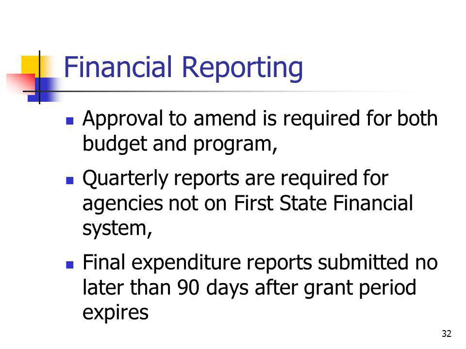 Financial Reporting Approval to amend is required for both budget and program,