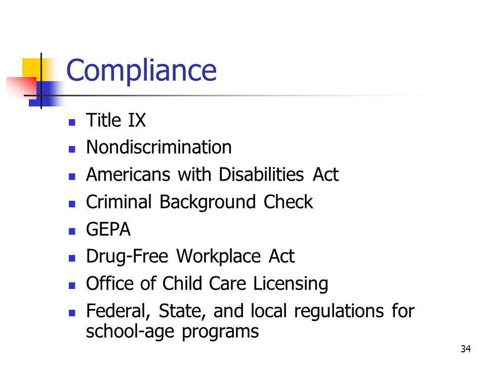 Compliance Title IX Nondiscrimination Americans with Disabilities Act