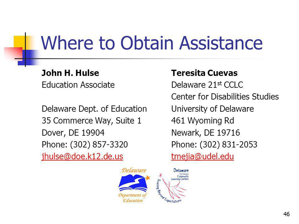 Where to Obtain Assistance
