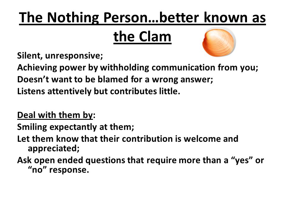 The Nothing Person…better known as the Clam