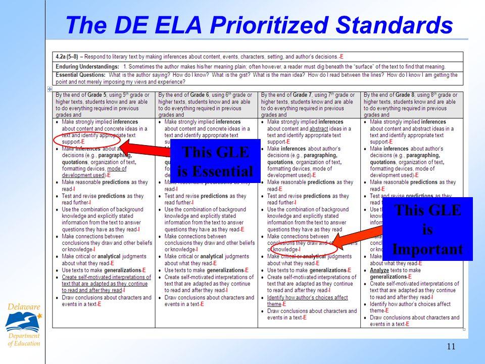The DE ELA Prioritized Standards