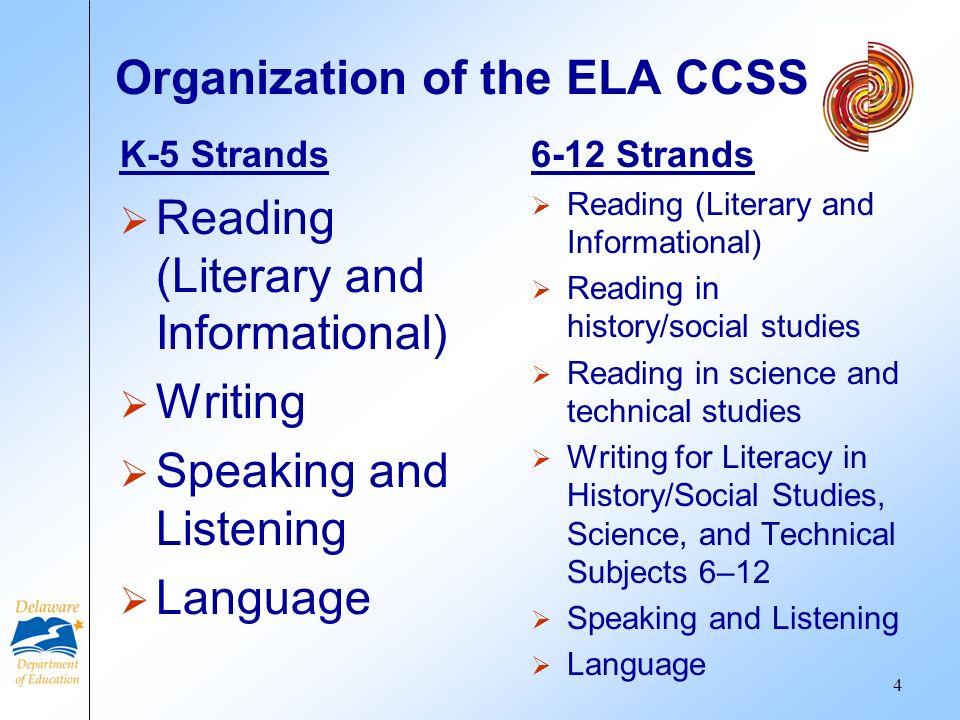 Organization of the ELA CCSS