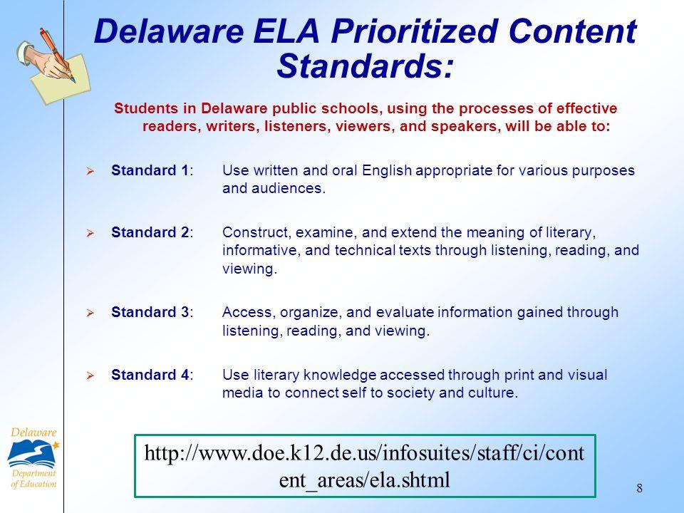 Delaware ELA Prioritized Content Standards: