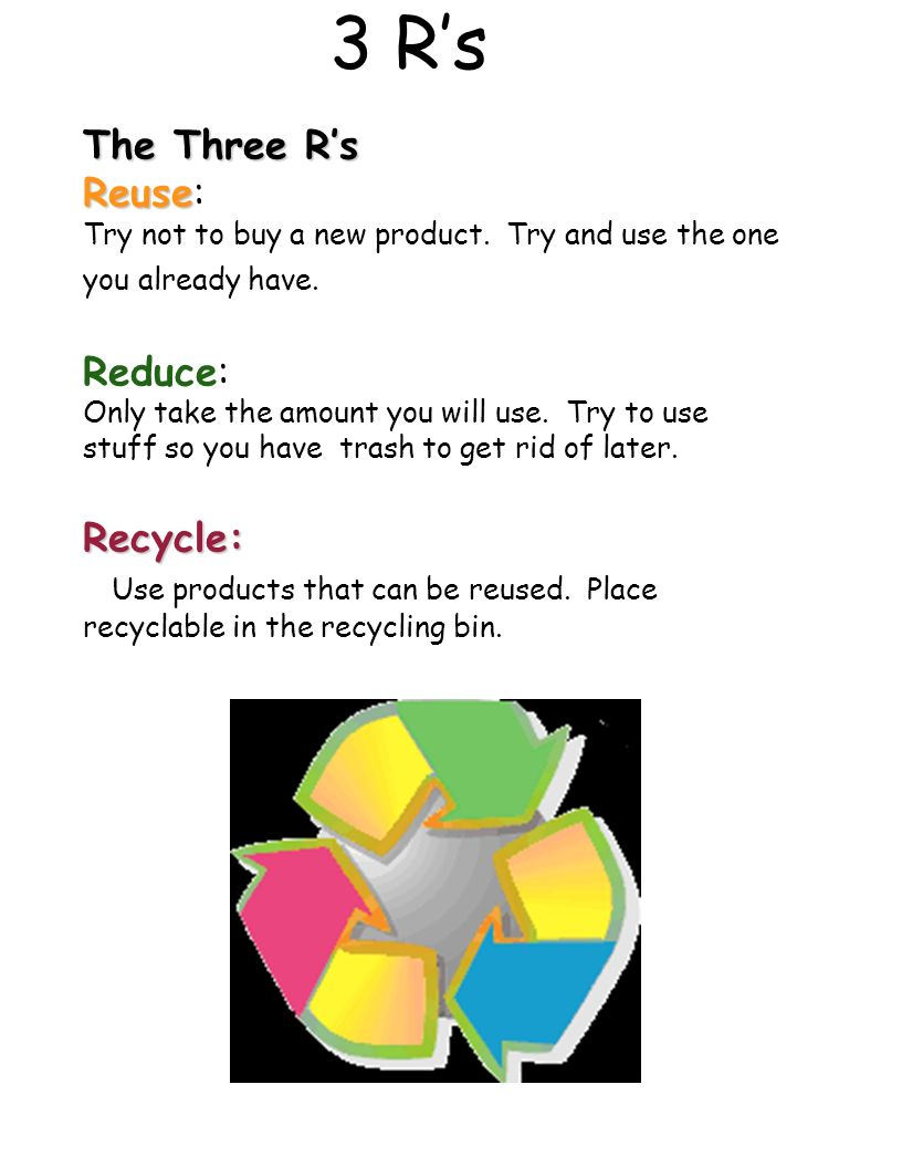 3 R's The Three R's Reuse: Reduce: Recycle: