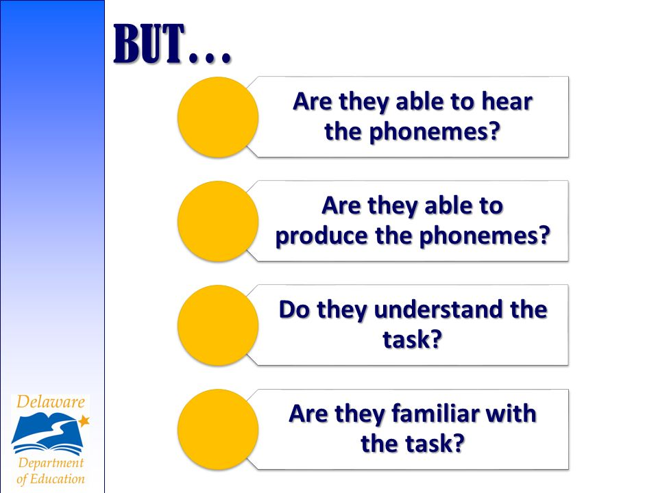 BUT… Are they able to hear the phonemes Are they able to produce the phonemes Do they understand the task