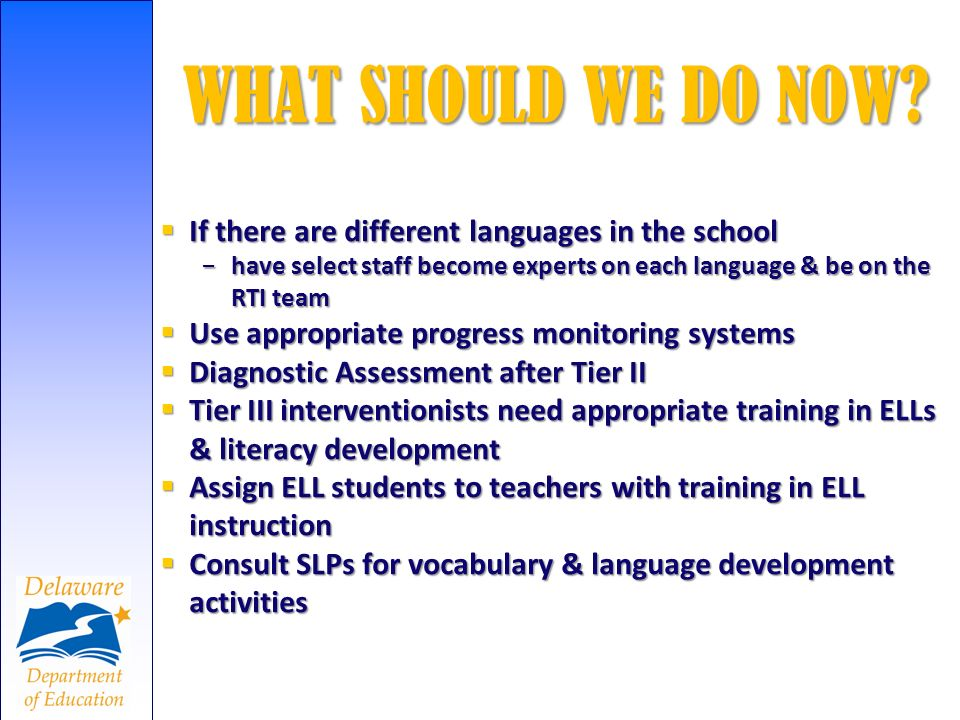 WHAT SHOULD WE DO NOW If there are different languages in the school