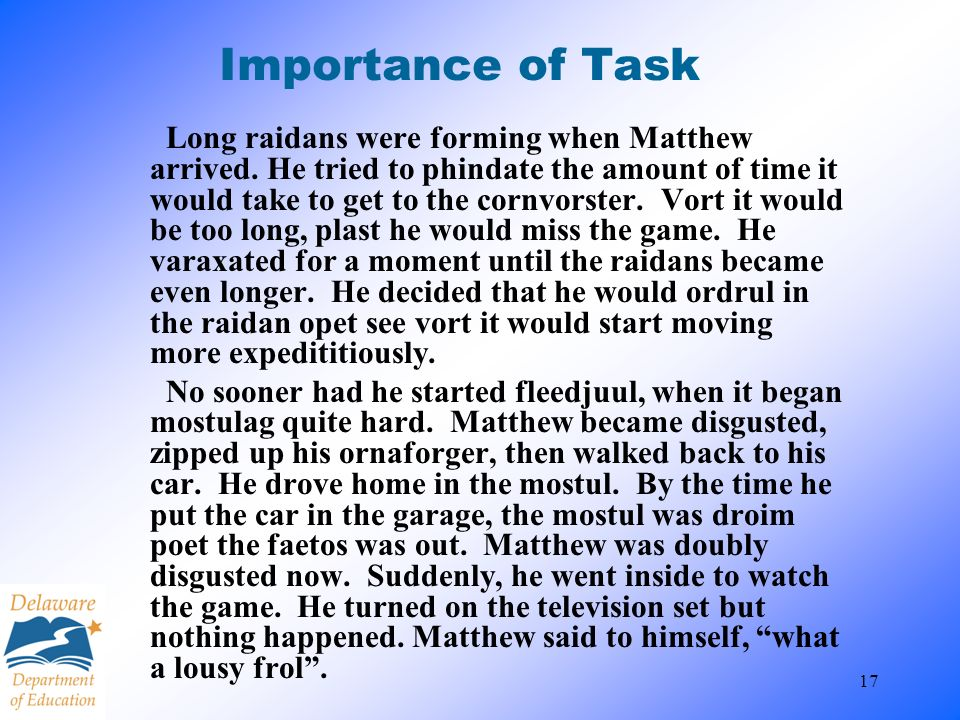 Importance of Task