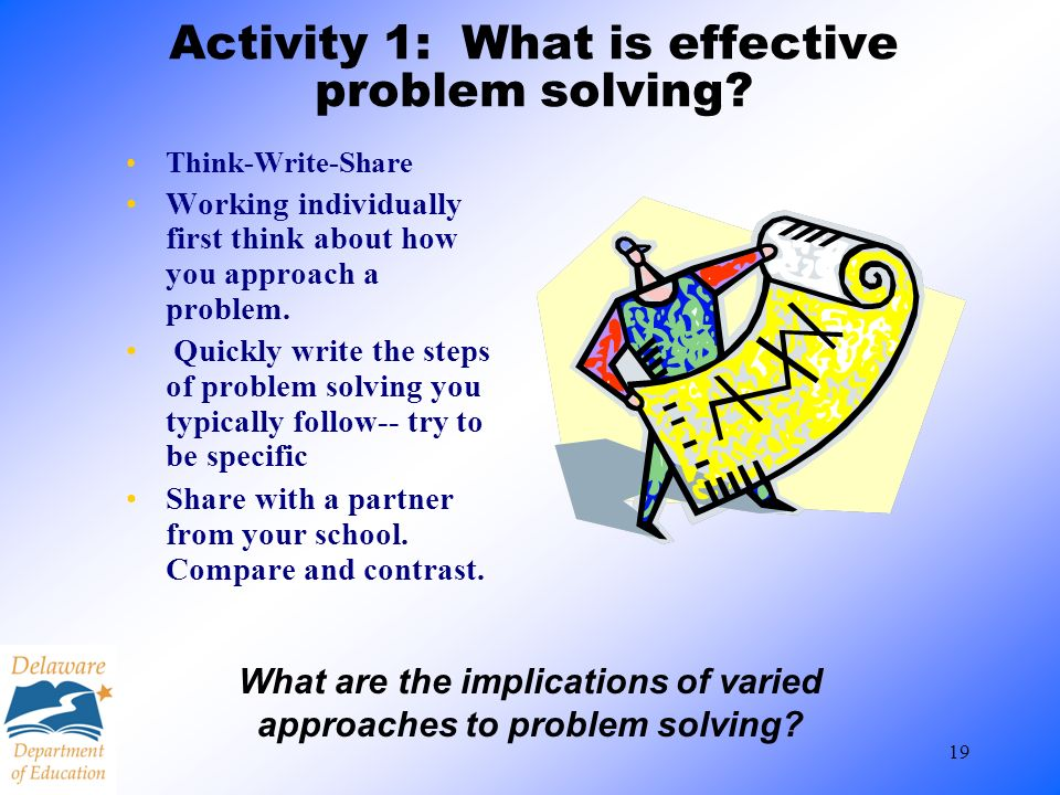 Activity 1: What is effective problem solving