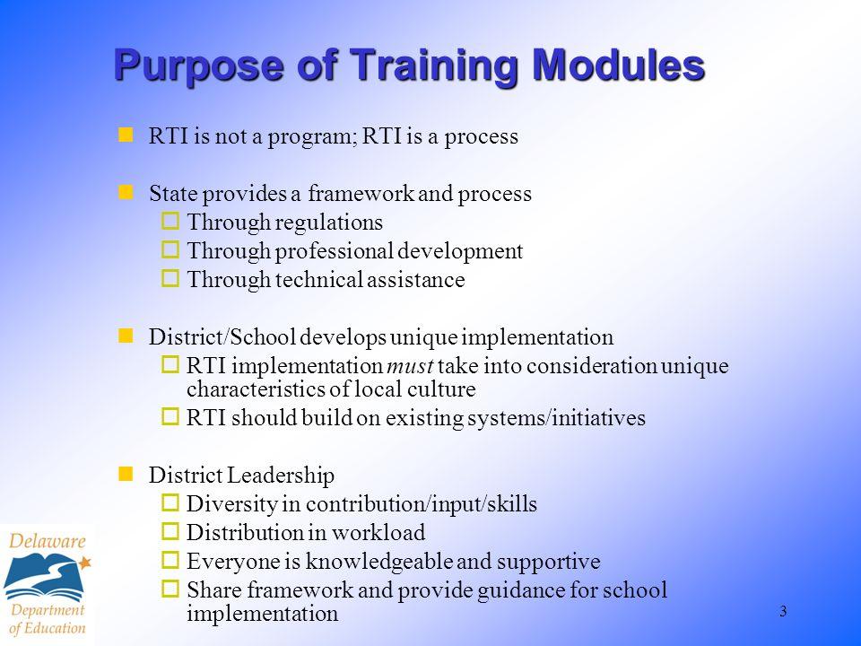 Purpose of Training Modules