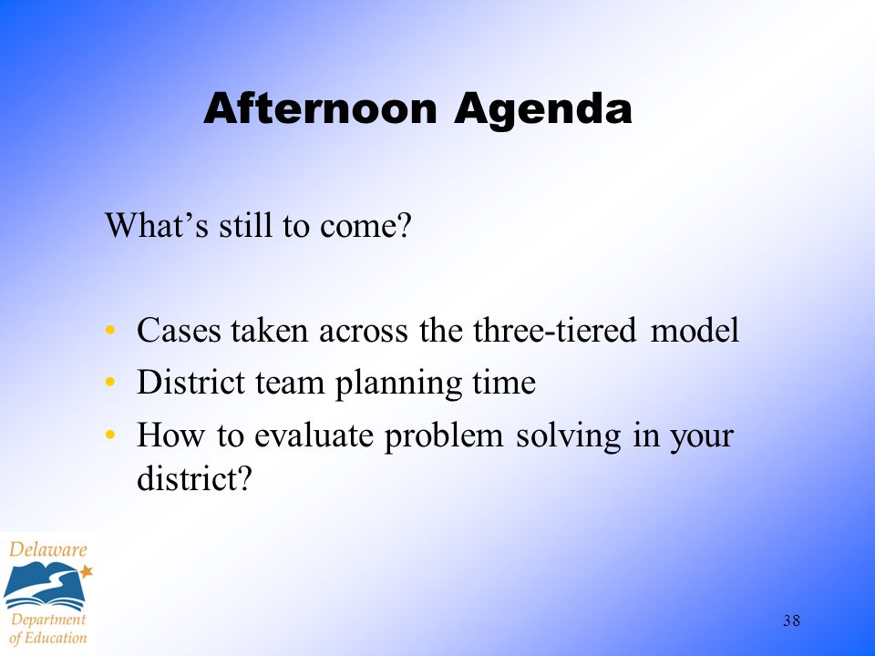 Afternoon Agenda What's still to come