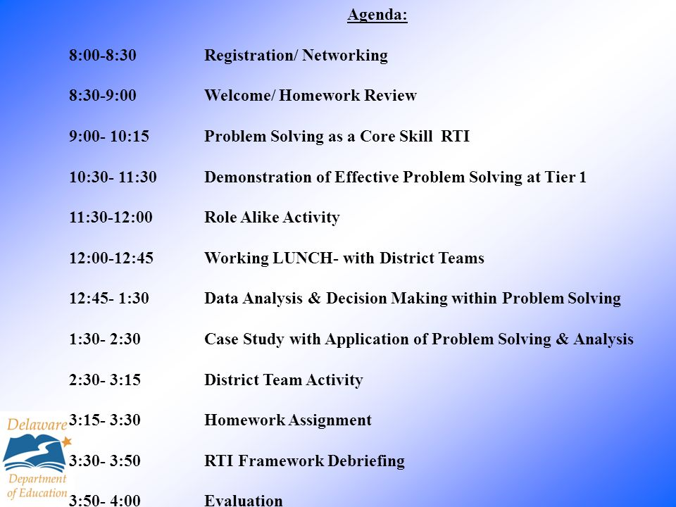 Agenda: 8:00-8:30 Registration/ Networking. 8:30-9:00 Welcome/ Homework Review. 9:00- 10:15 Problem Solving as a Core Skill RTI.