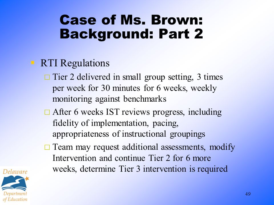 Case of Ms. Brown: Background: Part 2
