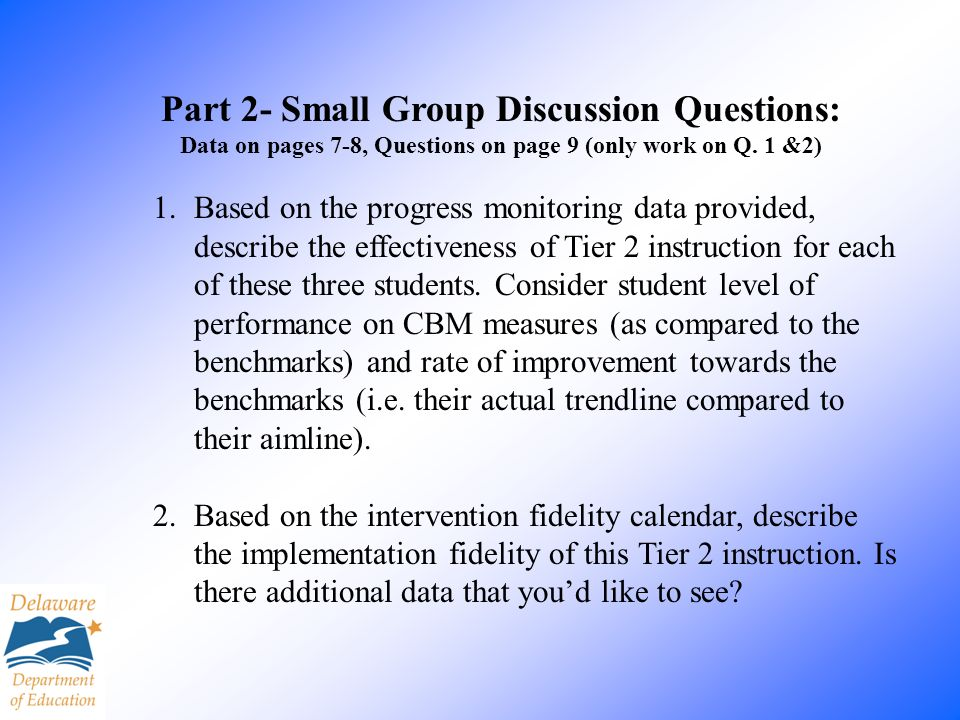 Part 2- Small Group Discussion Questions: