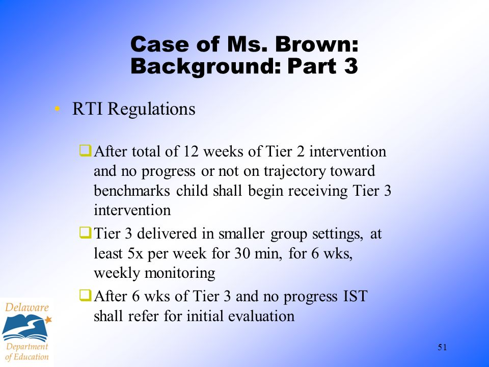 Case of Ms. Brown: Background: Part 3