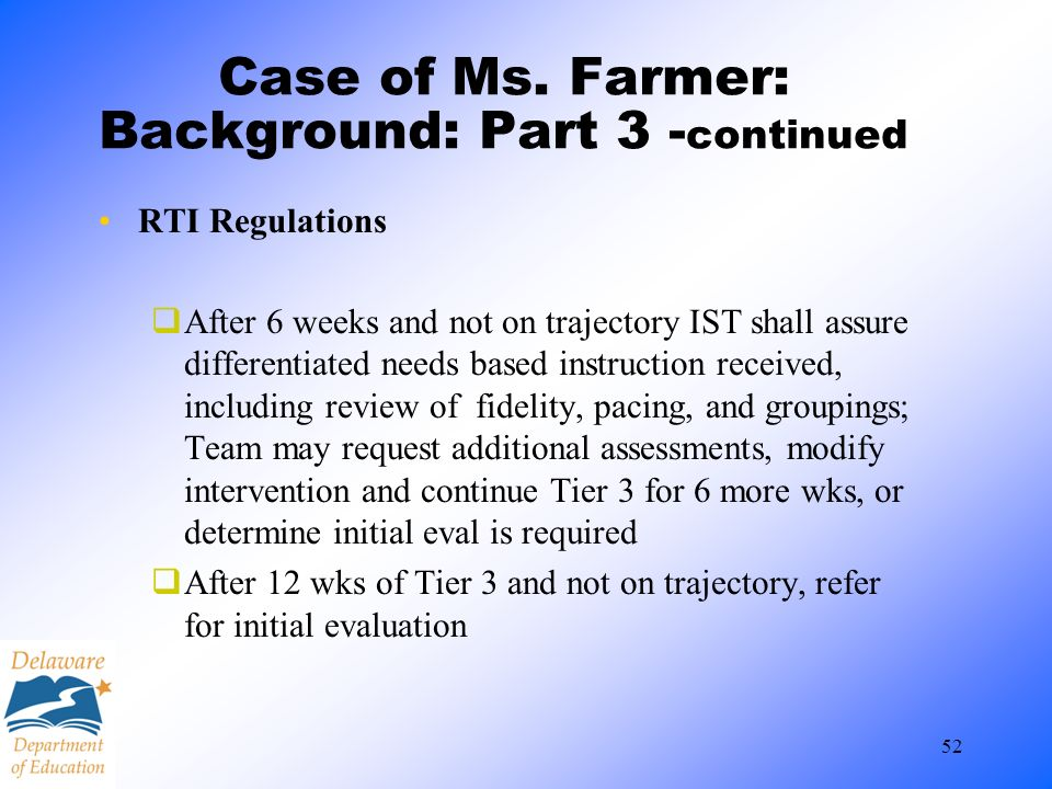 Case of Ms. Farmer: Background: Part 3 -continued