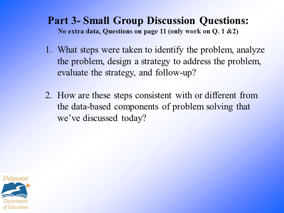 Part 3- Small Group Discussion Questions: