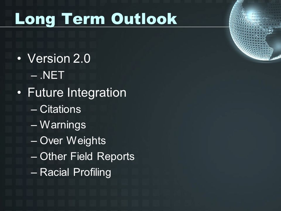 Long Term Outlook Version 2.0 Future Integration .NET Citations