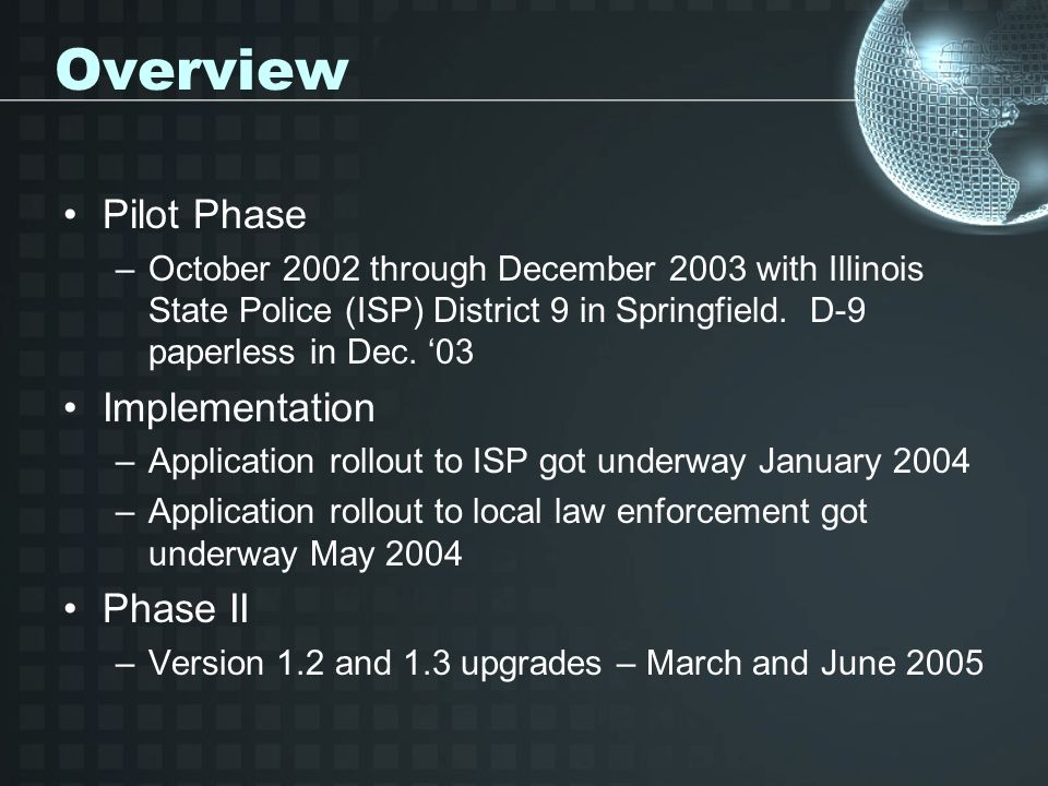 Overview Pilot Phase Implementation Phase II