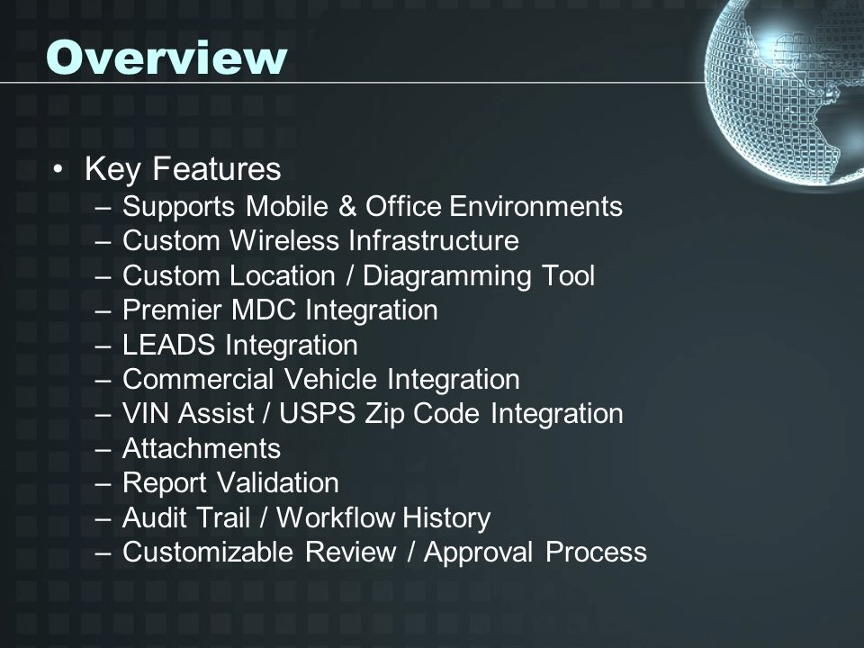 Overview Key Features Supports Mobile & Office Environments