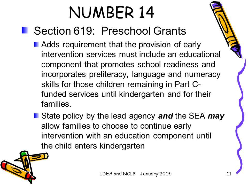 NUMBER 14 Section 619: Preschool Grants