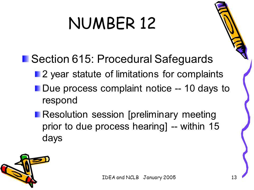 NUMBER 12 Section 615: Procedural Safeguards