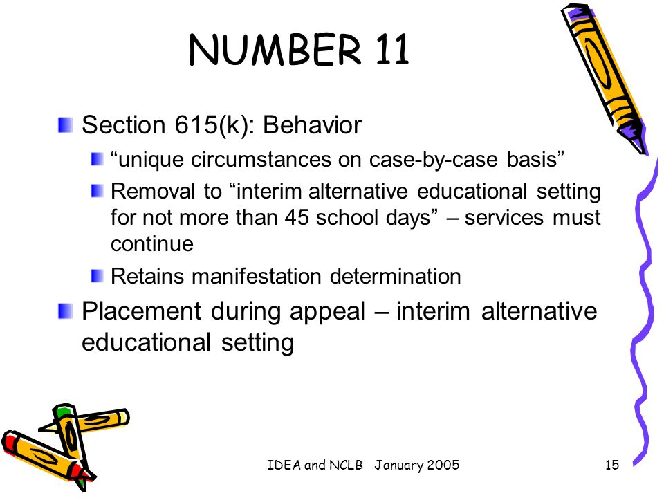 NUMBER 11 Section 615(k): Behavior