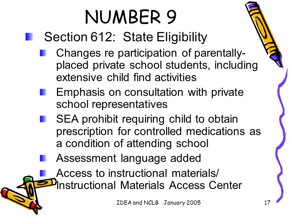 NUMBER 9 Section 612: State Eligibility
