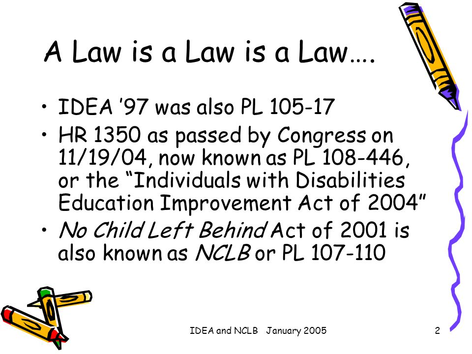 A Law is a Law is a Law…. IDEA '97 was also PL 105-17