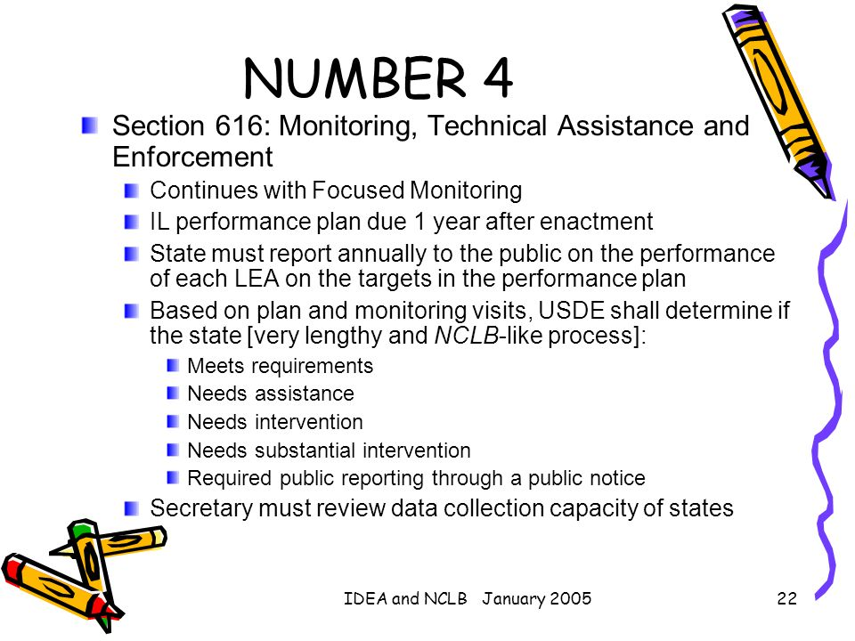 NUMBER 4 Section 616: Monitoring, Technical Assistance and Enforcement