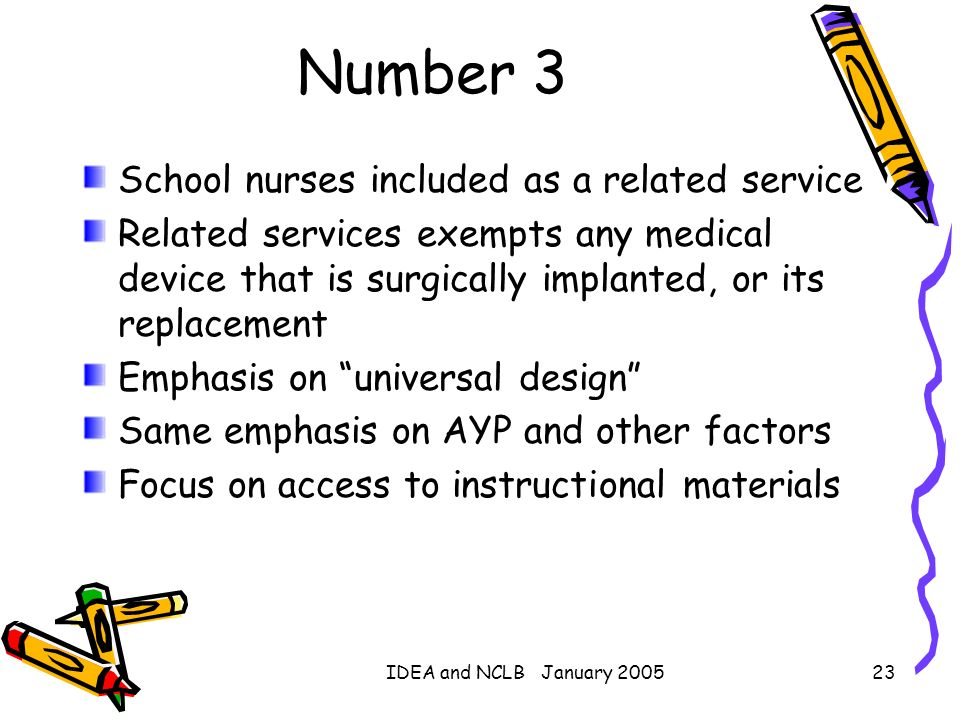 Number 3 School nurses included as a related service