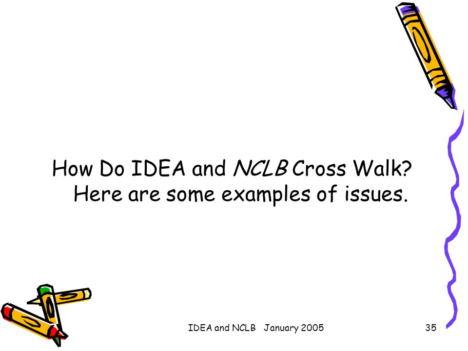 How Do IDEA and NCLB Cross Walk Here are some examples of issues.